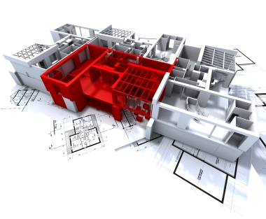 Apartment highlighted in red on a white architecture mockup on top of architect's plans
